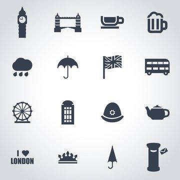 Vector black london icon set