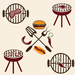 bbq labels set and design elements