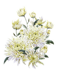 Vintage Watercolor Floral Card with Chrysanthemums