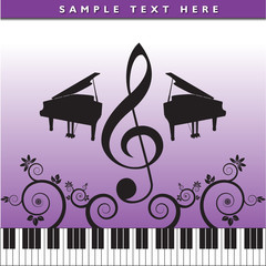 Music, piano, floral background in purple and black