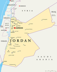 Jordan political map with capital Amman, national borders, important cities, rivers and lakes. English labeling and scaling. Illustration.