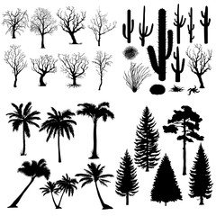 Vector Big Set of Trees and Plants Silhouettes.