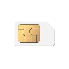 Mobile Cellular Phone Sim Card Chip Isolated on Background