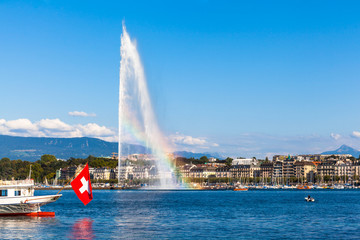 Papiers peints Fontaine Water jet fountain with rainbow in Geneva