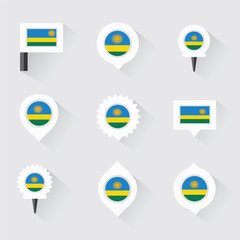 Rwanda flag and pins for infographic, and map design