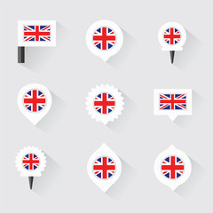 united kingdom flag and pins for infographic, and map design