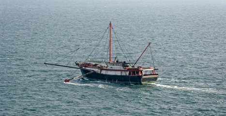 Commercial fishing trawler boat