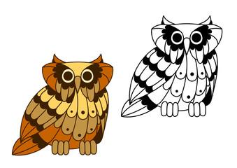 Cartoon isolated owl bird character