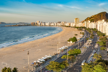 Aerial view of Copacabana beach, in Rio de Janeiro, Brazil