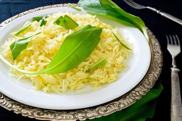wild leek with saffron basmati rice and lemon