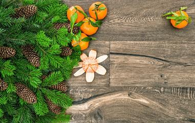 Mandarine fruits and christmas tree branches. Tangerine