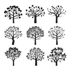 Set of black vector tree icons