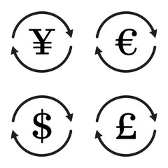 Finance currency exchange vector icon set. Yuan, dollar, euro, pound sterling money exchange