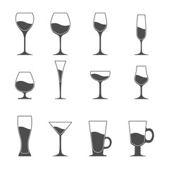 Vector icon set of utensil. Wine beer martini whiskey brandy glasses.