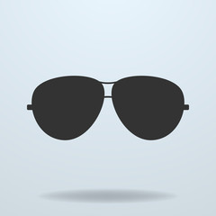 Police or cop sunglasses, glasses. Vector black icon