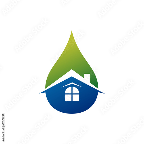 cool and fresh water drop house logo template stock image and