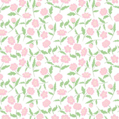 Rose Pink Colorful Seamless Pattern White Background