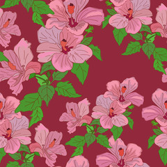 Flowers Red Colorful Seamless Pattern Background