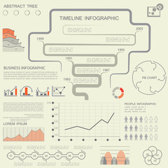 Vector set of business data visualization