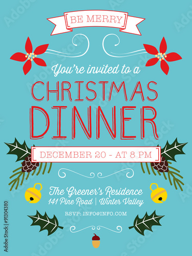Christmas Dinner Invitation Card Vector Design Stock