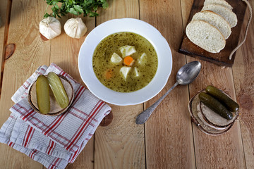 delicious homemade cucumber soup with bread