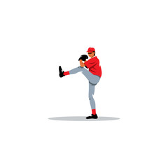 Baseball pitcher sign. Vector Illustration.