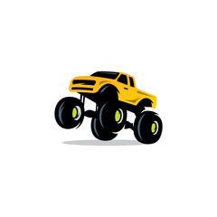 Monster Truck sign. The car on big wheels and high ground clearance. Vector Illustration.