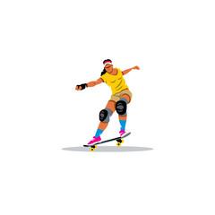 Skateboarder girl jumping sign. Vector Illustration.