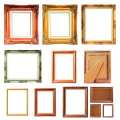 Set of vintage picture frames isolated on white background for put your text or product