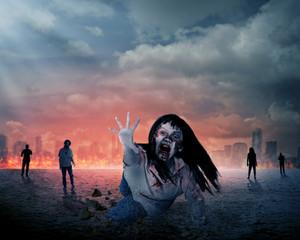 Scary female zombie with burning city background