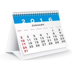 January 2016 desk calendar