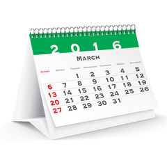 March 2016 desk calendar