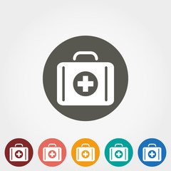 Suitcase first aid icon.