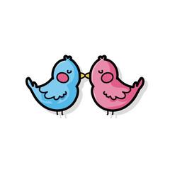valentines bird doodle