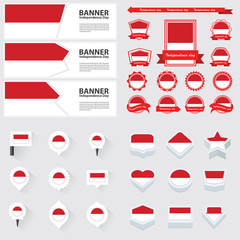 monaco independence day, infographic, and label Set.