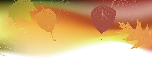 Autumn horizontal banner with the space for a text
