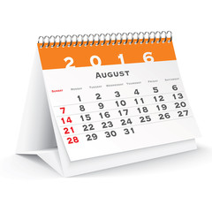 August 2016 desk calendar