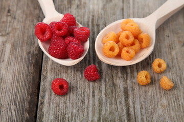 Ripe yellow and red raspberries