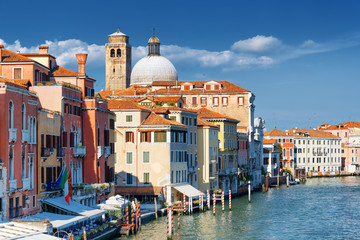 View of medieval houses on waterfront of the Grand Canal, Venice