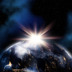 Abstract space background with night lights on Earth - elements of this image furnished by NASA