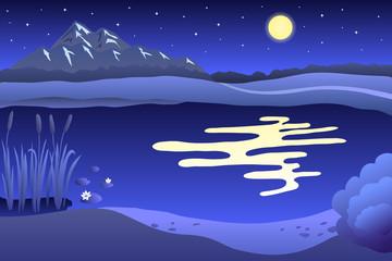 Lake summer landscape night illustration vector