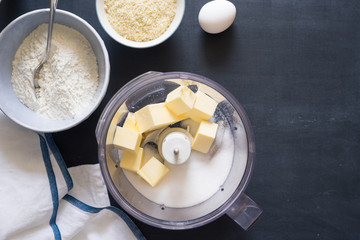 Ingredients for shortcrust almond pastry to make in food processor