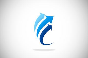 arrow upload business finance technology logo