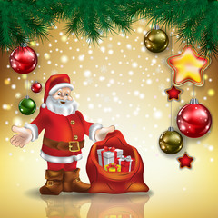 Abstract greeting with Santa Claus and decorations