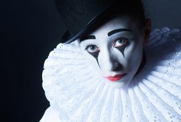 Sad mime Pierrot, closeup portrait
