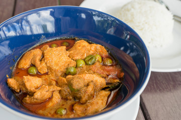 Thai style pork dry curry