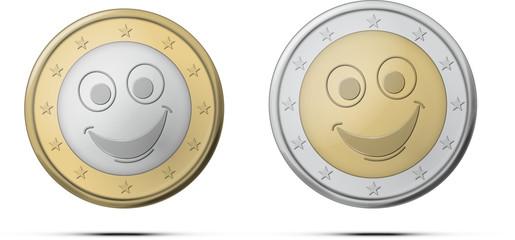 Pièce euro sourit ombre