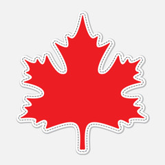 red seam maple leaf with white contour