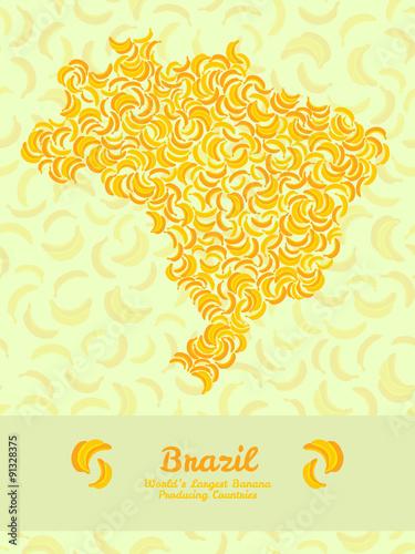 Brazil Map Poster Or Card Banana Illustration Healthy Food Pos - Brazil map illustration