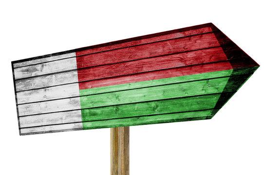 Madagascar Flag wooden sign isolated on white
